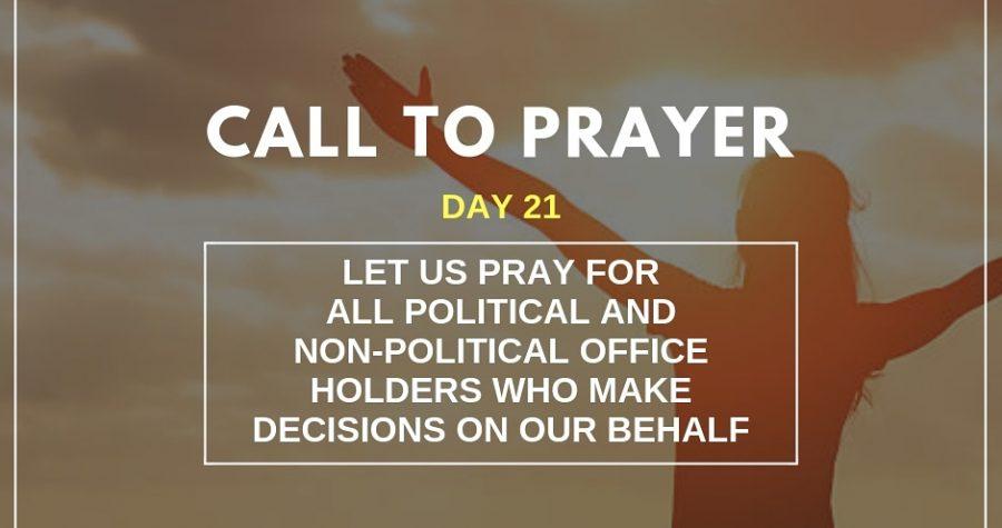 Call To Prayer &#8211&#x3B; Day 21 &#8211&#x3B; November 11, 2018